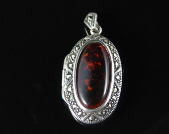 Locket, Pendant, Sterling Silver, Oval Shape, Amber, Marcasite, Picture Locket, Silver Jewelry 925, Amber Pendant