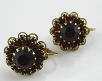 Vintage Red Rhinestone Costume Clip on Round Earrings