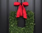 Square Wreaths, Spring Boxwood Wreath, Evergreen Wreath Red Bow, Faux Outdoor Wreaths, Holiday Wreath Outdoors, Seasonal Square Wreaths