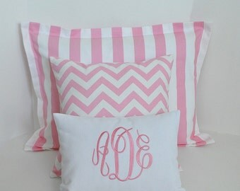 Pink Sham Pillow Set Girls Room Bedding, Baby Room Bedding Standard Sham and Accent Pillows
