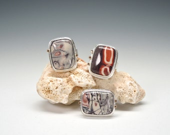 Porcelain Jasper Ring, Jasper Ring, Sterling Silver,14kt Gold, Graphic Design, Painterly, Colorful Ring