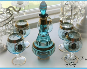 Bohemian Glass decanter    vintage aqua glass bottle  Great for bath oils!   Perfume!