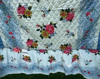 Vintage shabby cottage bedspread pink ROSE bouquets never used  original tag Full