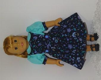 Black Corduroy Jumper with Aqua Blouse, Fits 18 Inch American Girl Dolls
