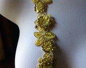 """SUNFLOWER Gold Beaded Applique Trim 12""""  for Lyrical Dance, Costume or Jewelry Design, Crafts TR 249sfg"""