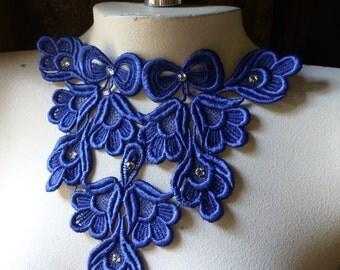Sapphire Blue Lace Applique with Rhinestones Cobalt Blue for Lyrical Dance, Jewelry, Garments, Costume Design CA 200sb
