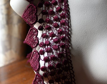Burgundy Lace Venice Style for Garments, Applique, Costume or Jewelry Design CL 3015