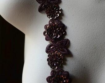 "Espresso Copper Beaded Applique Trim 12""  for Lyrical Dance, Costume or Jewelry Design, Crafts TR 249"