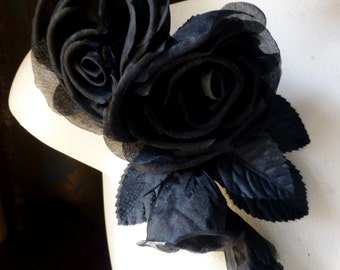 Black Silk Rose Millinery Corsage for Bridal, Costume or Hat Design, Floral Supply MF 123