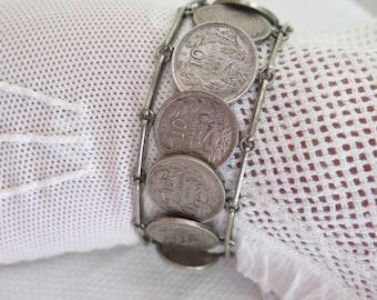 Silver Coin Bracelet 10 Centavo Coin Link Bracelet Vintage 1925- 1940