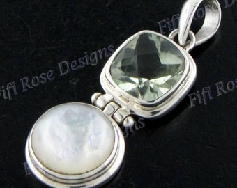 """1 7/16""""green Amethyst Mother Of Pearl Shell 925 Sterling Silver Pendant"""