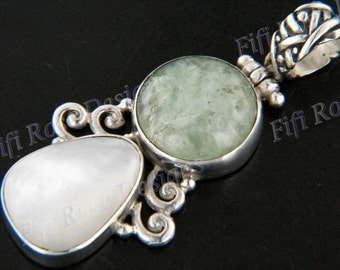 """2"""" Aventurine Mother Of Pearl Shell 925 Sterling Silver Pendant"""