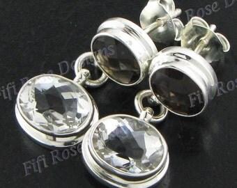 "1 1/8"" White Quartz With Smokey Quartz 925 Sterling Silver Post Earrings"