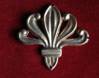 Antique art nouveau metal floral embellishment