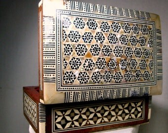 Wood Bone MOP Marquetry Box, MidEast Geometric Inlay, Islamic Classic Hinged Box, Bone, Brown, Black, Exotic Pearl Shell, HandMade