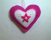 Bright Pink Felt Heart Ornament | Valentine's Day | Holidays | Wedding Bridal | Party Favor | Handmade | Tree Ornament | Decoration | #7