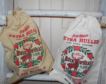 Grain sack, feed sack, Holiday decor, 12 x16 cotton bag, feed bag, Santa sack, deer bag, Flour sack, grain sack, gift bag, Historic feed bag