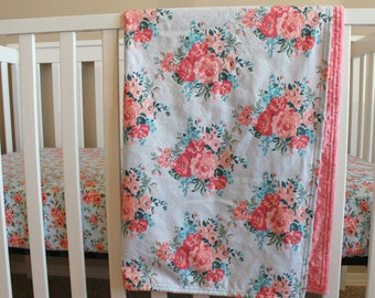 Floral Crib Sheet and Blanket - Baby Girl Bedding - Pink Coral Nursery - Baby Shower Gift Set