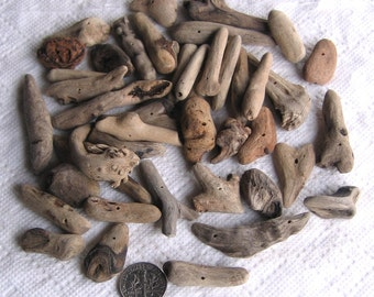 45 Driftwood Sea Wood Beads Sticks Drilled 1mm holes Supplies (1816)