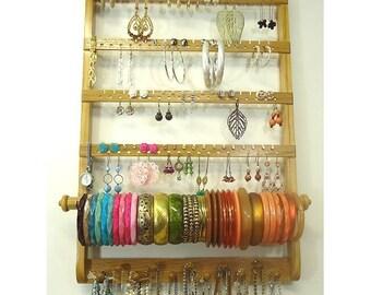 Ready To Ship, Earring Holder Bracelet Bangle, Necklace Organizer, Jewelry Display, Gorgeous Oak Wood, Wall Mount, Honey Stain, Hardwood