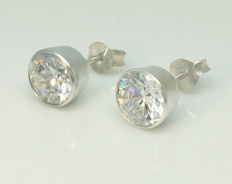 Men's diamond cz stud earrings, gleamind diamond cz studs, men's stud earrings, men's earrings, sterling silver stud earrings, 434F