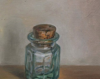 Original oil painting - Pale green small bottle
