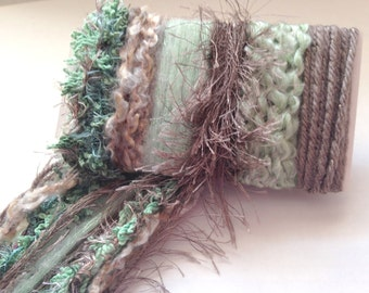 MILK CHOCOLATE MINT Specialty Yarn Fiber Embellishment Bundle - Altered Arts, Jewelry, etc - 5 or more bundles for 10% discount