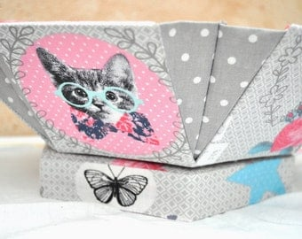 Hexagonal Sewing Box - Fabric Covered Cartonnage - 'Hello Deer'