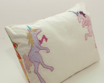 Unicorn Pillow in Pink Purple Blue with Kimono Silk Backing