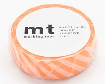 mt deco - stripe - orange - washi masking tape - 15mm x 10m x 1 roll