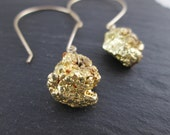 Fools Gold Nuggets. Long Gold Hooks. Gold Fill. Iron Pyrite Nuggets. Raw Stone Earrings. Gold Earrings. Modern Simple Sparkle Earrings. Gold