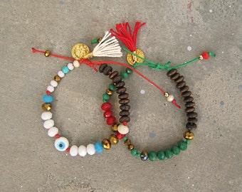 SALE Coin Charm Beaded Bracelet. Boho Bracelet. Boho Bracelet. Bohemian Friendship Bracelet. Hippie Bracelet. Womens Gift. Wrap Bracelet