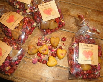 Miniature one inch HEART Bundle from certified organic beeswax with red Rose Petals- Scented your choice to melt  display plus potpourri