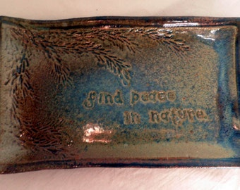 handmade Stoneware Plate, Nature Message