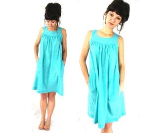 cotton summer dress / lightweight / small medium / hot weather clothing