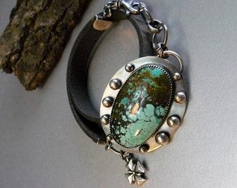 Natural Turquoise & Vintage Brown Leather Wrap Bracelet  set in oxidized Sterling Silver - Adjustable-  fish hook clasp  Unique