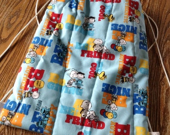 Quilted Backpack for Toddler Drawstring Closur, Peanuts, Charlie Brown, Snoopy, ready to ship
