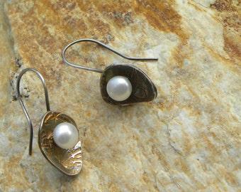 pearl earrings in fine silver