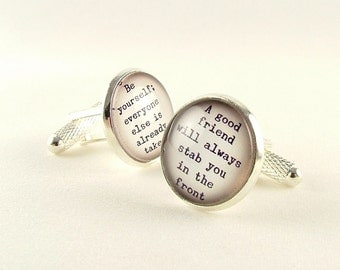 Gift For Husband - Oscar Wilde Cufflinks - Literary Quotes - Gifts For Him - Quote Cufflinks - Wedding Cufflinks - Bookish Gift - Mens Gift