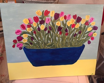Tulips in a blue bowl