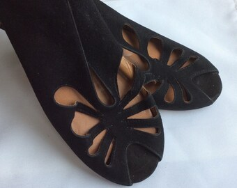Vintage suede black 1960 sling back peep toe