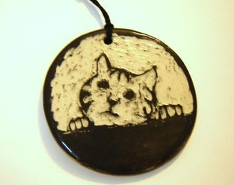 Tabby Cat Ornament - Kitten Decoration - Black and White - Sgraffito Pottery - Home Décor - Whimsical Art