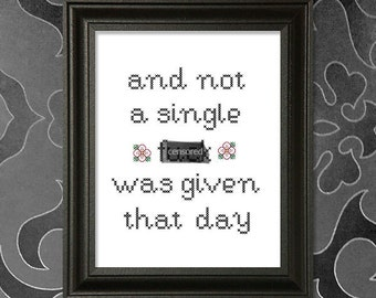 And not a single f%ck was given that day.  MATURE cross-stitch pattern