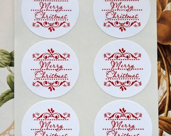 Christmas Stickers, Christmas Holiday Party Favor Treat Bag Stickers CS018
