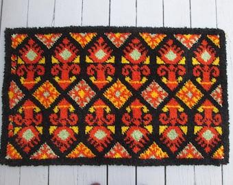Vintage Hand Hooked Throw Rug - Orange and Black - Mid Century Chic