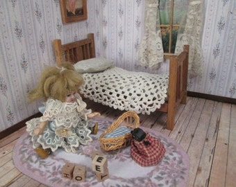 """Vintage Dollhouse Furniture - Wooden Bed and Bedding - Small 1"""" or 3/4"""" Scale - Made in Germany"""