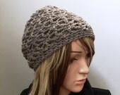 Carolina Sands Winter Slouchy Beanie--- Crocheted in 100 Percent Wool Yarn in Dark Sand - beige tan natural color - Ready to SHIP