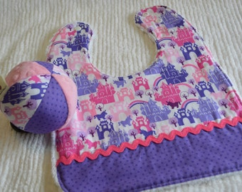 Baby SET: Chenille Baby/Toddler Bib and Jingle Ball with CASTLE fabric