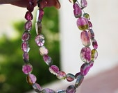 "Bright Rubelite Pink Green Watermelon Tourmaline Smooth Slice Petal Briolette Straight Drilled Beads 14"" full strand or 7"" half strand"