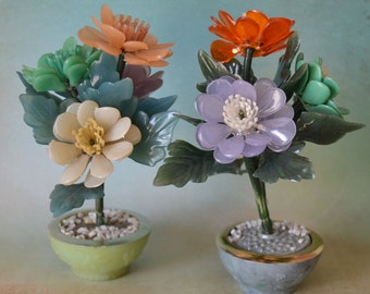 Vintage Lucite Acrylic Potted Flowers Sculpture Lot Price Import 1960's